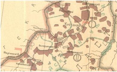 Схематическая карта заселяемых частей с указанием медицинских учреждений Кустанайского уезда начала ХХ века