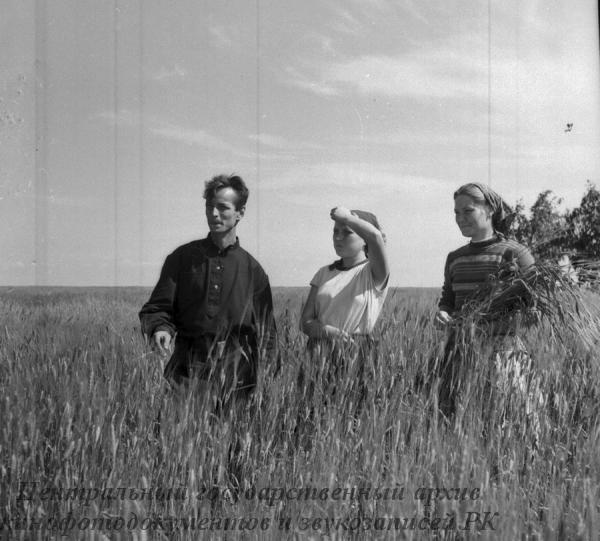 Молодые патриоты города Москвы, прибывшие на уборку урожая с целинных земель Кустанайской обл., за осмотром хлебов.