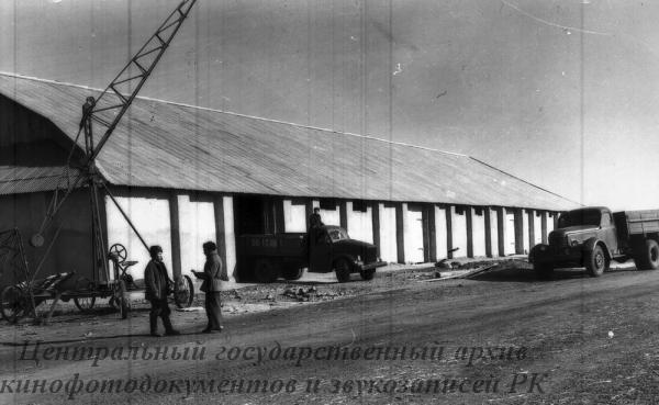 В зерносовхозе Урнекский Карабалыкского р-на выстроены зерносклады. На снимке: один из выстроенных зерноскладов емкостью 3200 тонн